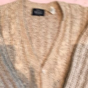 "100 % Cotton bulky knit cardigan. 21"" arm to arm"